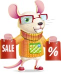 Cute Little Mouse Cartoon Character - Holding shopping bags