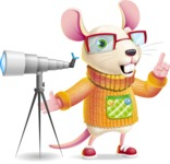 Cute Little Mouse Cartoon Character - Looking through telescope
