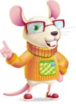 Cute Little Mouse Cartoon Character - Making a point
