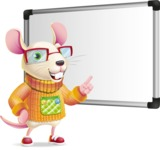 Cute Little Mouse Cartoon Character - Making a Presentation on a Blank white board