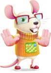 Cute Little Mouse Cartoon Character - Making stop gesture with both hands