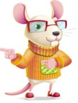 Cute Little Mouse Cartoon Character - Pointing with both hands