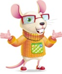 Cute Little Mouse Cartoon Character - Presenting with both hands