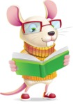 Cute Little Mouse Cartoon Character - Reading a book