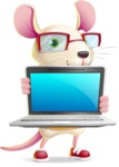 Cute Little Mouse Cartoon Character - Showing a laptop