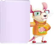 Cute Little Mouse Cartoon Character - Showing Big Blank banner