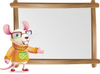 Cute Little Mouse Cartoon Character - Showing on Big whiteboard