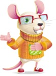 Cute Little Mouse Cartoon Character - Showing with both hands