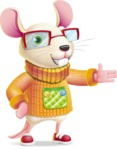 Cute Little Mouse Cartoon Character - Showing with left hand