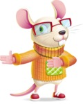 Cute Little Mouse Cartoon Character - Showing with right hand