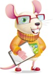Cute Little Mouse Cartoon Character - Smiling and holding notepad