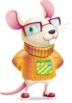 Cute Little Mouse Cartoon Character - Waiting with hands behind back
