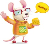 Cute Little Mouse Cartoon Character - Waving for Hello with a hand