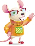 Cute Little Mouse Cartoon Character - Waving