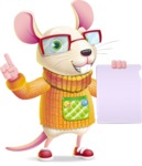 Cute Little Mouse Cartoon Character - with a Blank paper