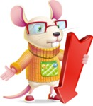Cute Little Mouse Cartoon Character - with Arrow going Down
