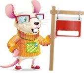 Cute Little Mouse Cartoon Character - with Blank Real estate sign