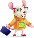 Cute Little Mouse Cartoon Character - with Briefcase