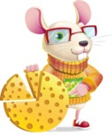 Cute Little Mouse Cartoon Character - with Business graph