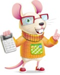 Cute Little Mouse Cartoon Character - with Calculator
