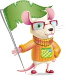 Cute Little Mouse Cartoon Character - with Flag