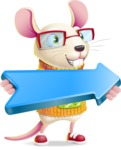 Cute Little Mouse Cartoon Character - with Positive arrow