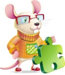 Cute Little Mouse Cartoon Character - with Puzzle