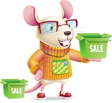 Cute Little Mouse Cartoon Character - with Sale boxes