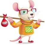 Cute Little Mouse Cartoon Character - with Travelling bag