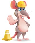Cartoon Funny Mouse Vector Character - as a Construction worker