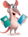 Cartoon Funny Mouse Vector Character - Choosing between Book and Tablet