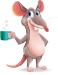 Cartoon Funny Mouse Vector Character - Drinking Coffee