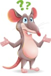 Cartoon Funny Mouse Vector Character - Feeling Confused