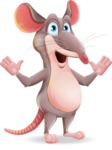 Cartoon Funny Mouse Vector Character - Feeling Shocked