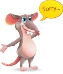 Cartoon Funny Mouse Vector Character - Feeling sorry