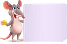 Cartoon Funny Mouse Vector Character - Holding a Blank sign and Pointing