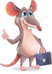 Cartoon Funny Mouse Vector Character - Holding a briefcase