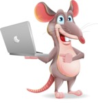 Cartoon Funny Mouse Vector Character - Holding a laptop