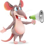 Cartoon Funny Mouse Vector Character - Holding a Loudspeaker