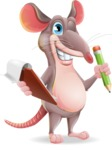 Cartoon Funny Mouse Vector Character - Holding a notepad with pencil