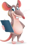 Cartoon Funny Mouse Vector Character - Holding a notepad