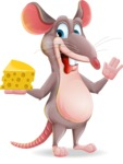 Cartoon Funny Mouse Vector Character - Holding a piece of cheese