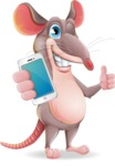 Cartoon Funny Mouse Vector Character - Holding a smartphone