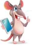 Cartoon Funny Mouse Vector Character - Holding an iPad