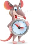 Cartoon Funny Mouse Vector Character - Holding clock