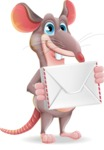 Cartoon Funny Mouse Vector Character - Holding mail envelope