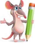 Cartoon Funny Mouse Vector Character - Holding Pencil