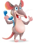 Cartoon Funny Mouse Vector Character - Holding phone with thumbs up