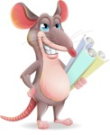 Cartoon Funny Mouse Vector Character - Holding Plans
