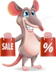 Cartoon Funny Mouse Vector Character - Holding shopping bags